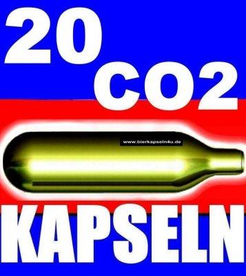 20 NEMT 16g Co2 Bierkapseln für alle Bierzapfanlagen mit 16g Kohlensäurekapseln ohne Gewinde kompatibel zu Biermaxx Zapfprofi etc.