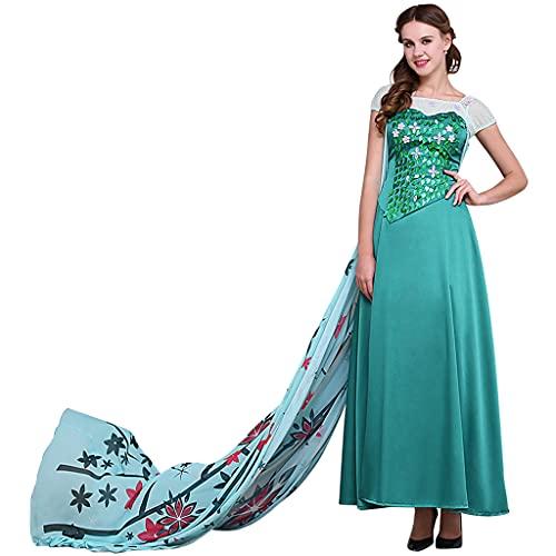 Fortunehouse Disfraz de Cenicienta Elsa para mujer, fiesta temática de princesa, disfraz de adulto para Halloween