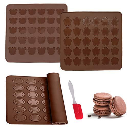 Senteen Silikon Macarons Backmatte, 3 Pcs Antihaftend Macaron Backform Silikonbackmatten 1 Pcs Sahne Butter Spatel Praktische Küchenbackwerkzeuge