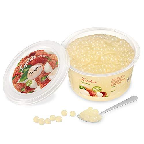 Original Popping Boba Fruchtperlen für Bubble Tea - 450g - Litschi / Lychee - Ohne künstliche Farbstoffe, echte Fruchtsäfte - Weniger Zucker - 100% Vegan und Glutenfrei