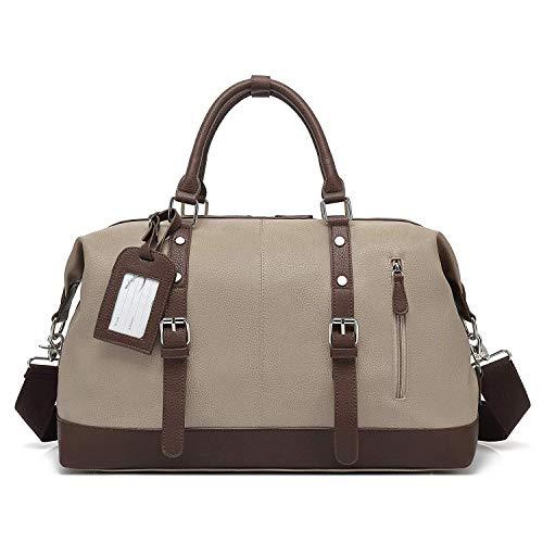 Qimiaobaby Oversized Holdall Travel Duffel, Leather Tote Unisex Shoulder Satchel, Portable Cabin Weekend Bag Handbag (Beige-Pu)