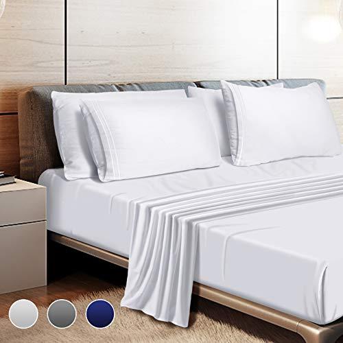 "Leafbay Bed Sheets King Set - 4 Piece Super Soft Microfiber Bed Sheets 1800 TC with 16"" Deep Pocket, Wrinkle Resistant and Unfading Bedding Set - White"