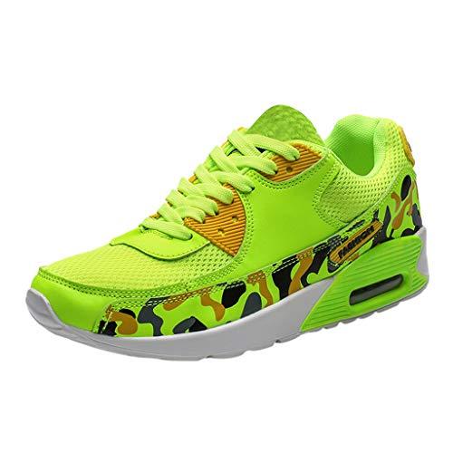 Zapatillas de Deporte de Camuflaje para Hombre al Aire Libre Zapatillas de Alpinismo Ligeros de Malla Transpirable Zapatos Trail Running Trekking Baloncesto(Verde,46)