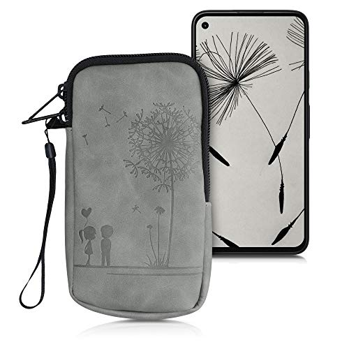 kwmobile Universal Smartphone Pouch Size M - 5.5' - Synthetic Leather Case w/Zipper - Dandelion Love Grey