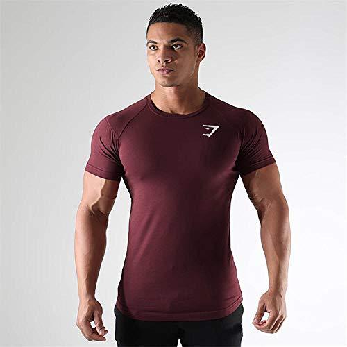 Noctiflorous T-Shirt Cool Dry pour entraînement de Compression,séchage Rapide pour Homme,T-Shirt de Running Respirant pour entraînement,Red_M,t-Shirt Sport léger et Respirant