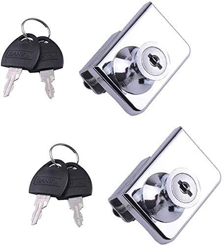 Cerradura de seguridad para puerta de cristal de doble apertura para gabinete, apto para puertas de cristal de 0,2 – 0,31 pulgadas, llave separada sin perforación, aleación de zinc