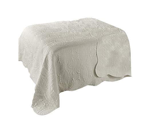 Dynamic24 Landhaus Tagesdecke 220x240cm Bettüberwurf Bett Decke Überwurf Paisley Pique (Creme)
