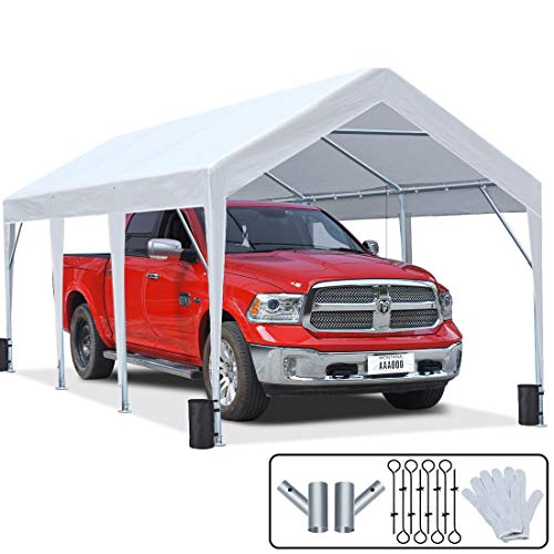 KING BIRD 10 x 20 ft Upgraded Heavy Duty Carport Portable Car Canopy Garage Tent Boat Shelter with Reinforced Triangular Beams and 4 Weight Bags