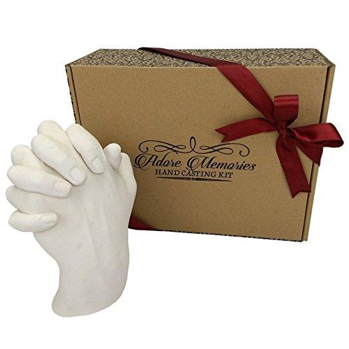 Adore Memories - Kit para hacer moldes de manos entrelazadas, regalo de aniversario, cumpleaños, impresión a mano en 3D, diseño de pareja