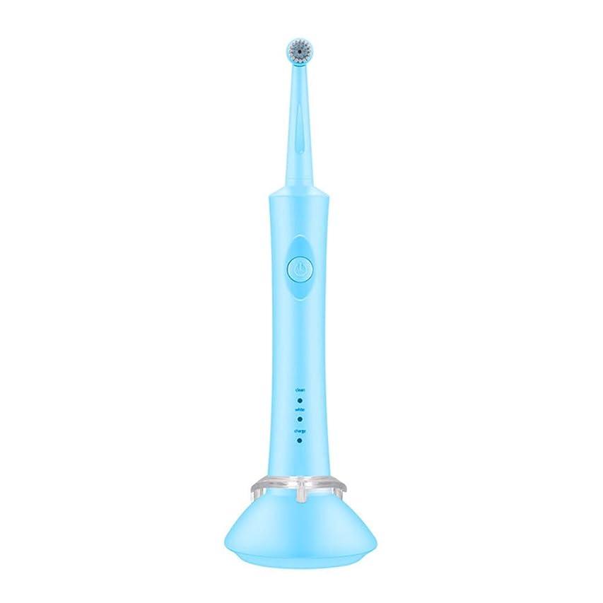 コンテンツ指定する助けて電動歯ブラシ大人子供ロータリー誘導充電式ソフトヘアカップル自動歯ブラシ,Blue