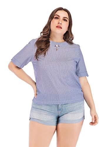 GF-Ms. Kleding Accessoires Dames T-shirt met korte mouwen Mode Ronde hals Gestreepte Shirt met korte mouwen Grote Maat Top
