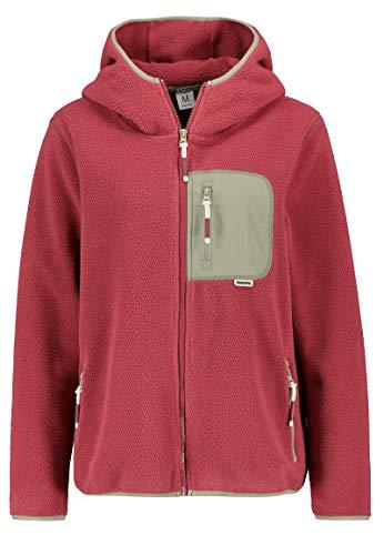 Sublevel Damen Colorblock Fleece-Jacke mit Brusttasche Middle-red XL