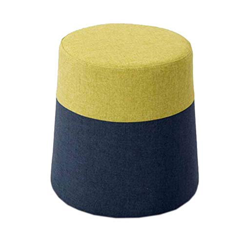 MUMA Tabouret Mode Tissu Bois Vestiaire Chambre Porte Sort Magie Couleur Simple Circulaire Amovible (Couleur : Pure cloth green black)