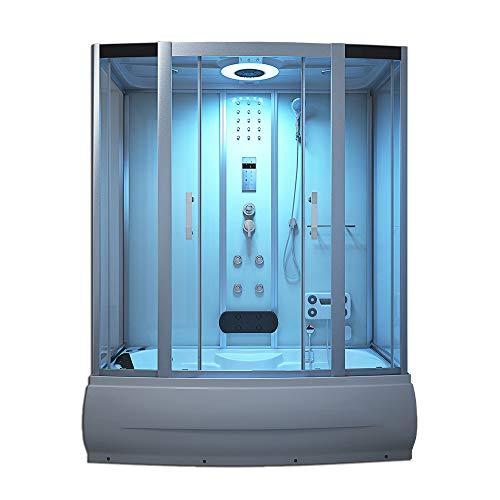 Home Deluxe - Duschtempel mit Regendusche und Handbrause - Diamond Big weiß - Verschiedene Größen | Dampfsauna, Badewanne, Whirlpool, Dusche (190x100 cm)