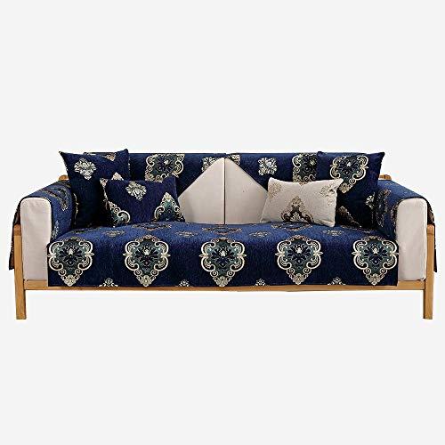 YUTJK Chenille Jacquard Sofa Pad, Für Haustiere Couch Sofa Überwürfe, Anti-rutsch Übergroßen Spitze Couch Sofa Überwürfe Couch-Shield, Sofaschoner, Für Ledersofas, Blau