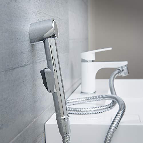 EISL DX25 Waschbeckenbrause, Handbrause für Küche, Bad, Waschküche oder Werkstatt, ideal zum Nachrüsten, einfache Handhabung, Set mit Schlauch (150mm) und Adapter für alle üblichen Armaturen, Chrom