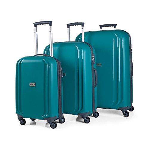 ITACA - Juego Maletas de Viaje Rígidas 4 Ruedas Trolley 55/67/77 cm Polipropileno. Ligeras. Mango Asas. Candado TSA. Pequeña Cabina Low Cost Ryanair, Mediana y Grande. I80000, Color Verde