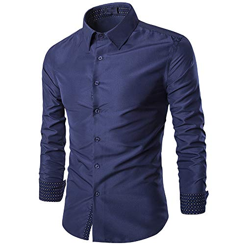 Herren Hemd Basic Slim Fit Langarm Hemden Freizeit Business Work Shirt Elegant...