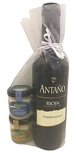 Regalo de vino tinto Antaño Rioja acompañado de dos tarritos de cremas de queso diferentes (Pack 24 ud): Amazon.es: Hogar