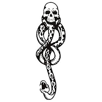 Konsait 20Sheets Halloween Death Eater Tattoos Dark Mark Mamba Skull Snake Fake temporary Tattoos Sticker for Adults Kids Halloween Cosplay Costume Party Favors Tattoo Accessories Supplies Gifts