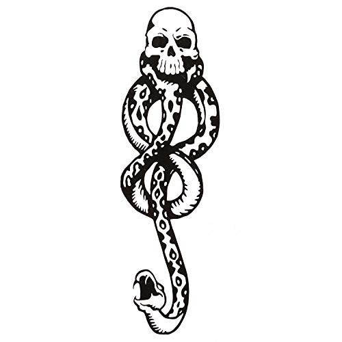 Konsait 20Sheets Halloween Death Eater Tattoos, Dark Mark Mamba Skull Snake Fake temporary Tattoos Sticker for Adults Kids Halloween Cosplay Costume Party Favors Tattoo Accessories Supplies Gifts