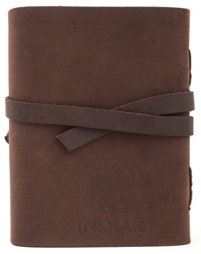 """INDIARY Luxury Wild Leather Bound Journal 100% Cotton Handcrafted Paper 5x4"""" - WILD A6 - Brown Photo #9"""