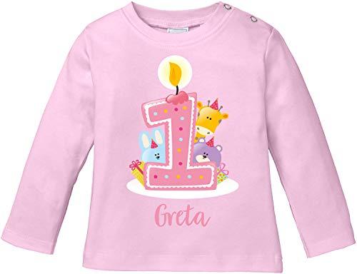 EZYshirt® Geburtstag Baby | 1. Geburtstag niedliche Tiere feiern die erste Geburtstags Party T-Shirt Langarm Baby Bio Baumwolle
