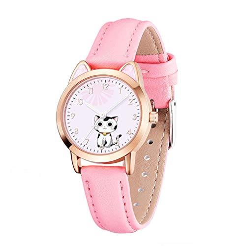 UKCOCO Reloj de Pulsera con Dibujo de Gato Encantador Reloj de Cuarzo con Puntero de Tiempo Luminoso para Niñas Y Estudiantes