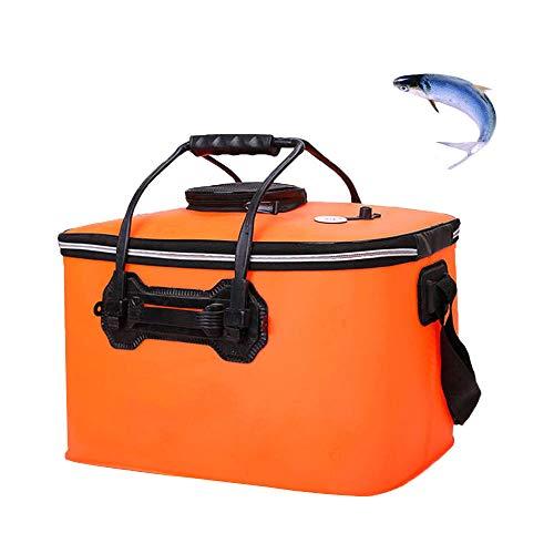 釣りバケツ 折りたたみ EVA製 バッカン 蓋付き 釣り袋 通気メッシュ ハンドルあり ポータブル アウトドア キャンプ ピクニックにも適用 オレンジ 40cm