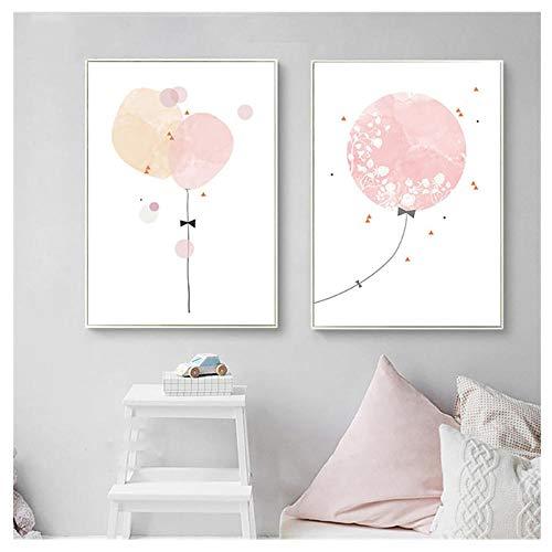 kaxiou Nordico Dolce Pink meisjes luchtballon poster druk op canvas, muurkunst, modulaire afbeeldingen, nachtkastje, achtergronddecoratie van het huis 50 x 70 cm, 2 stuks zonder lijst