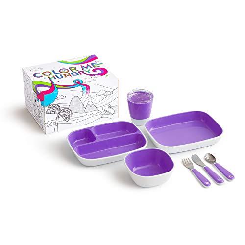 Munchkin Colour Me Hungry Esslern-Set In Ausmal-Geschenkbox, 7-Teilig, violett