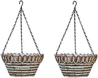 GARDEN KING 12 Inch Hanging Basket Brown (Set of 2) Natural Hanging Flower Pot with Metal Chain for Indoor and Outdoor