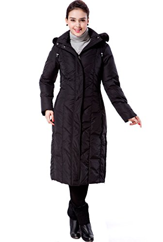 BGSD Women's 'Tisha' Water Resistant Down Parka Coat - M,Black