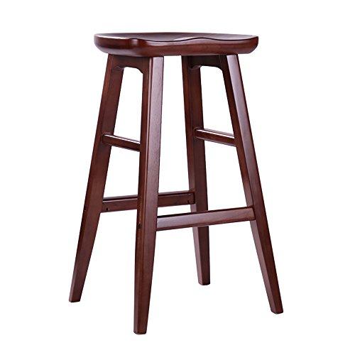 Tabouret de premier plan minimaliste moderne américain, tabouret de bar en bois massif, tabouret de bar, tabouret haut créatif maison européenne, chaise de bar ( Couleur : Marron , taille : 43*43*75cm )