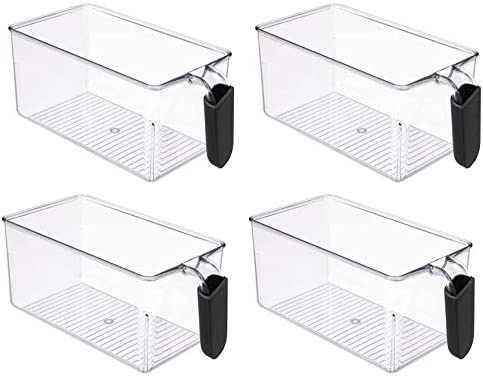 Clear food storage bins with handle refrigertor organizer containers canister sets for kitchen product image