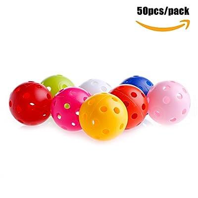 Delight eShop 50pcs/pack Golf Practice Balls, Plastic Whiffle Airflow Hollow, 40mm, 8 optional color