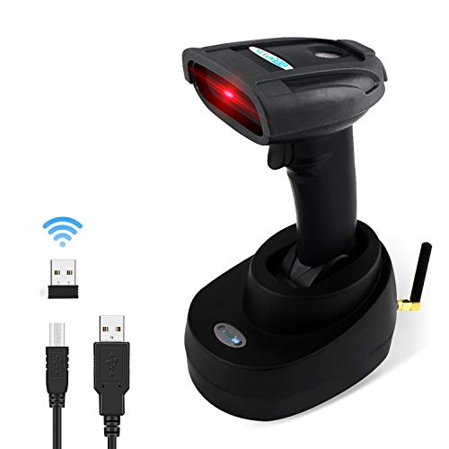Barcode Scanner Wireless Reader Handheld - Laser POS 1D Price Scanner for POS PC Laptop, Supermarket/ Department Stores/ Warehouse, Support Windows/ Mac OS System, Excel and other Software