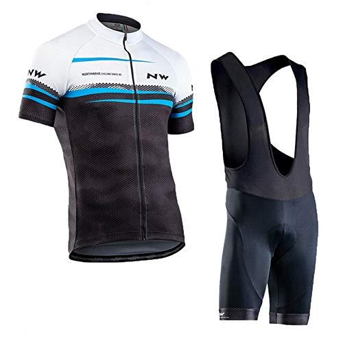 Hplights Conjunto Ropa Equipacion Ciclismo Maillot Manga Corta y Culotte Pantalones Cortos con 9D Gel Pad para Verano Deportes al Aire Libre Ciclo Bicicleta,A,M