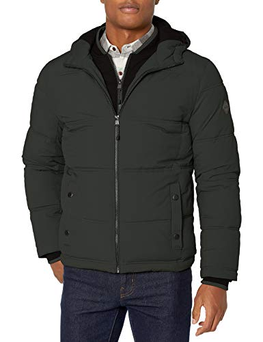 LONDON FOG Men's Chazy Hooded Bibby Jacket with Polyfill Insulation, Spruce, X Large