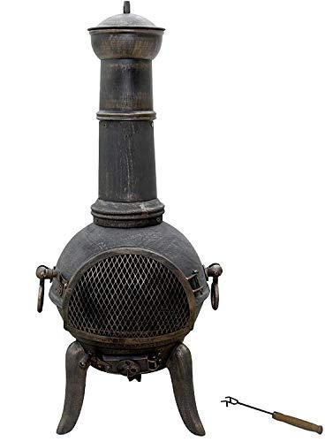 Nova - Chimenea de exterior de hierro fundido, diseño vintage, altura 108 cm, con atizador incluido, de carbón/madera - Estufa de jardín, chimenea de exterior