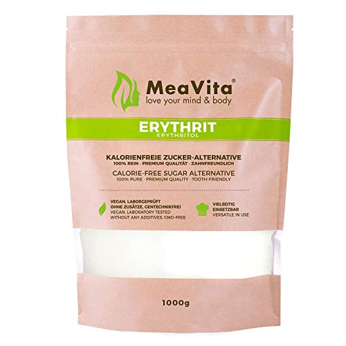 MeaVita Erythritol Alternativa de azúcar sin calorías, 1 paquete (1x 1000 g) en una bolsa