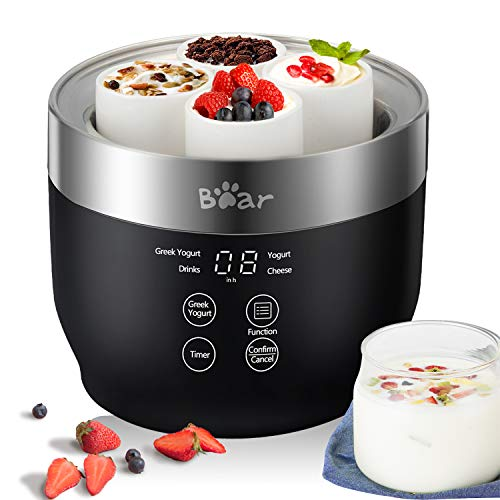 Greek Yogurt Maker Machine Bear, Automatic Digital Yogurt Maker with Timer & Temperature Control, Machine for Yogurt with 4 Ceramic Cups 4.2oz and 2 Glass Jars 33.8oz & Lids, Organic Yogurt Cheese Rice Vine for Kids Home Use, Black