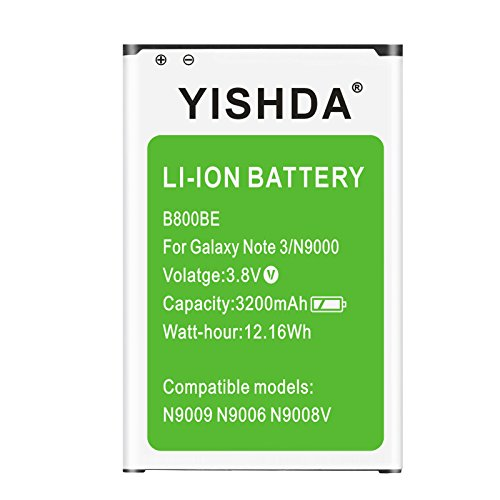 Galaxy Note 3 Battery, YISHDA 3200mAh Replacement Samsung Galaxy Note 3 Battery B800BU for Galaxy Note 3 N9000 N9005 N900A N900V N900P N900T | Samsung Galaxy Note 3 Spare Battery