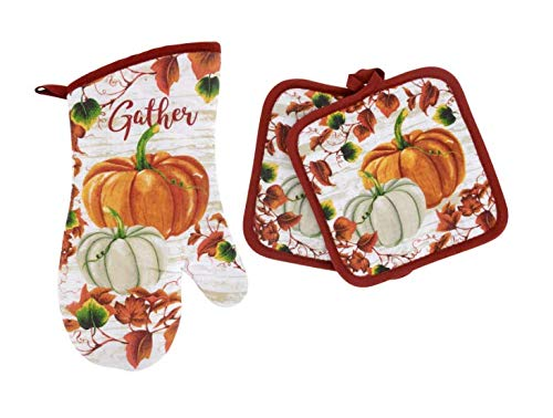 Home Collection Harvest Pumpkin Kitchen Linens Set Include Oven Mitt & 2 Potholders - Great for...