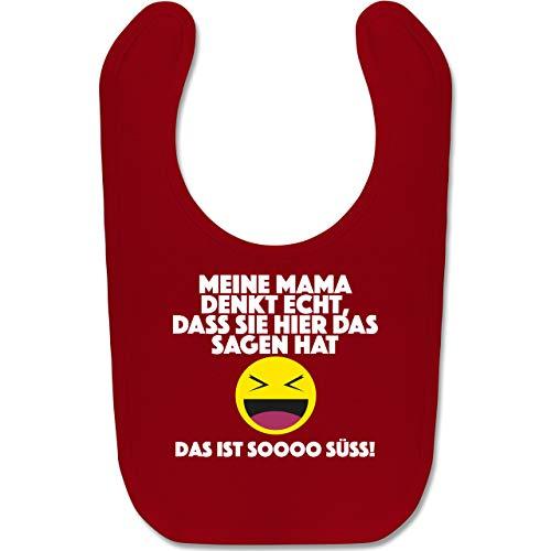 Shirtracer Sprüche Baby - Emoticon - Meine Mama denkt echt, dass sie hier das sagen hat. Das ist soooo süß! - Unisize - Rot - Baby-Latz - BZ12 - Baby Lätzchen Baumwolle
