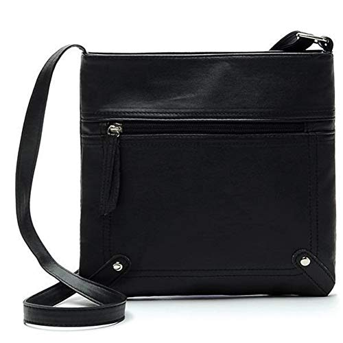 ERLIZHINIAN Designer Frauen Messenger Bags Frauen-Wannen-Beutel-Leder-Umhängetasche Schultertasche Handtasche Schulranzen (Color : Black)