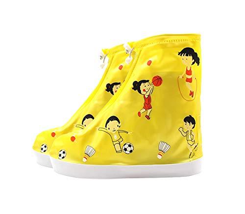 1 paio Copriscarpa impermeabile per bambini Copriscarpa antipioggia riutilizzabile per bambini, Modello sportivo giallo