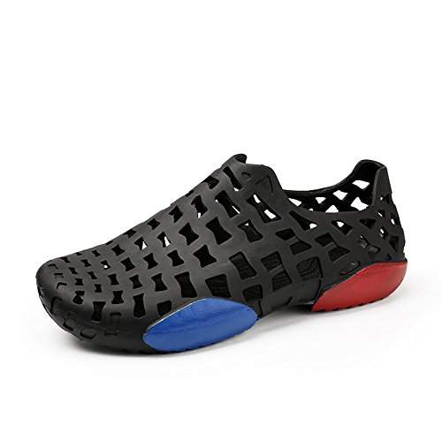 Zapatos de Cuero, Zapatos Casuales, adecuados para Sandalias para Hombre, Tacones Altos de Madera al Aire Libre, Zapatos de Agua Altos de Alto talón Alto. (Color : Black, Size : 42EU)