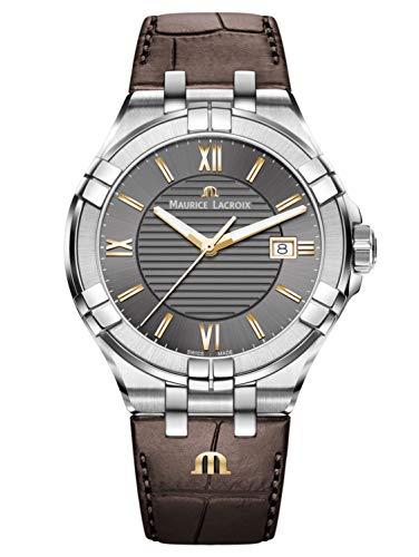 Maurice Lacroix Herren analog Swiss Quartz Uhr mit Leder Armband AI1008-SS001-333-1