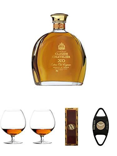 Claude Chatelier Cognac XO mit Etui 0,7 Liter + Cognacglas/Schwenker Stölzle 1 Stück - 103/18 + Cognacglas/Schwenker Stölzle 1 Stück - 103/18 + BrickHouse Streichhölzer + Buena Vista Zigarrencutter